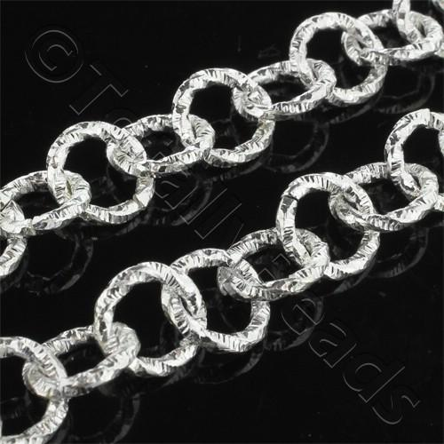 Chain Silver Plated - Round Link 10mm Patterned