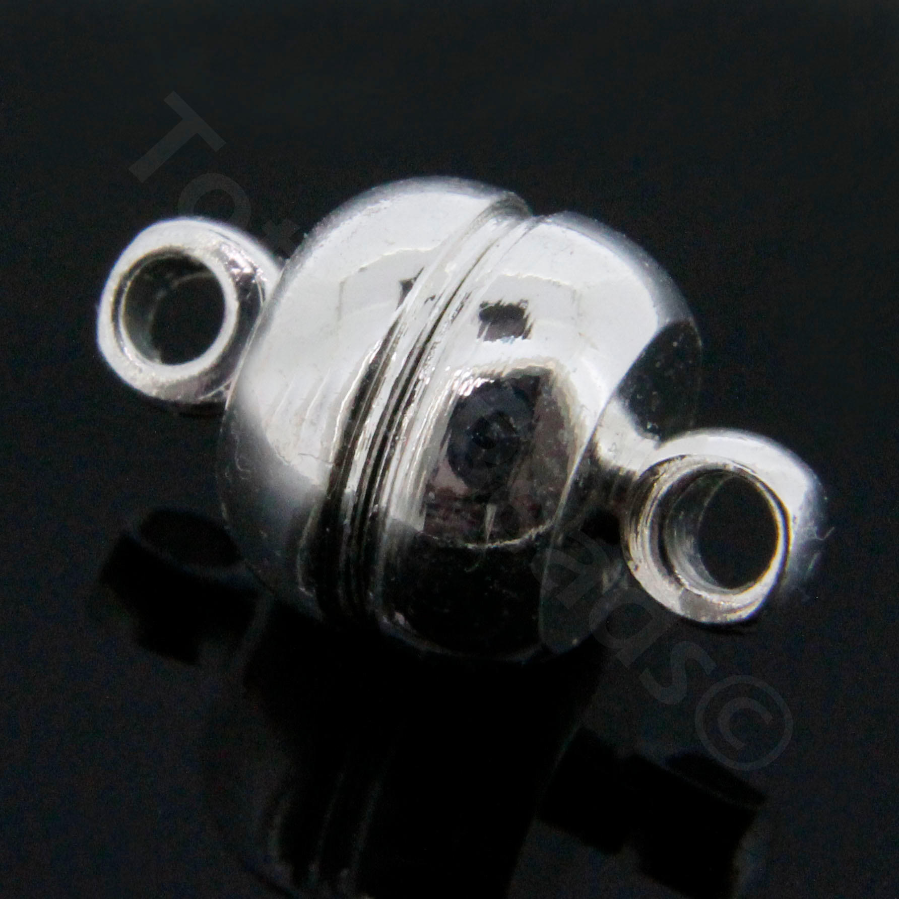 Magnetic Bell Clasps 8mm - Silver Plated - 2pcs
