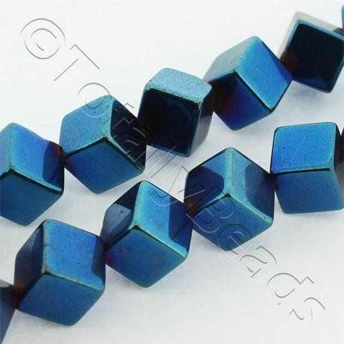 Hematite Diagonal Cube 8mm - Blue Plated