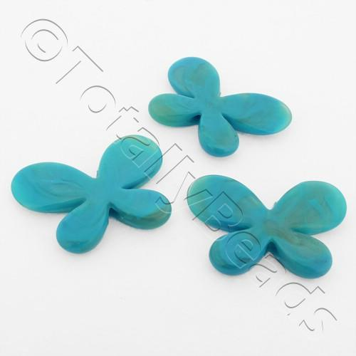 Acrylic Butterflies 32mm - Turquoise 8pcs