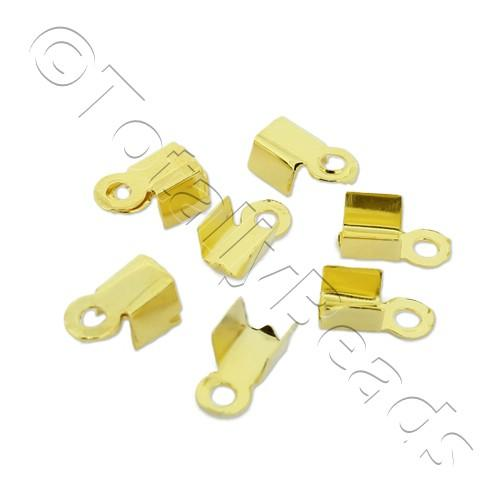Cord Crimp - 3mm Short - Gold Plated