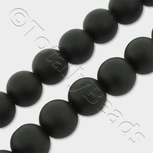 "Synthetic Onyx Round Beads 10mm Matt 16"" String"