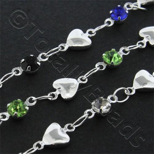 Chain Silver Plated - Heart with Rhinestones
