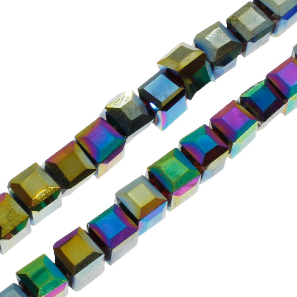 Crystal Faceted Cube 4mm  Rainbow Plate