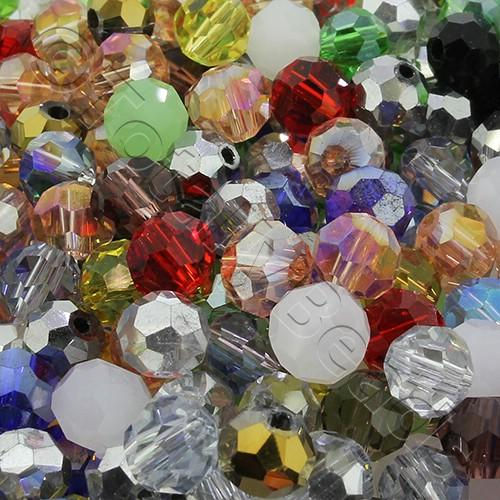 6mm Crystal Round Beads - Mixed 60pcs