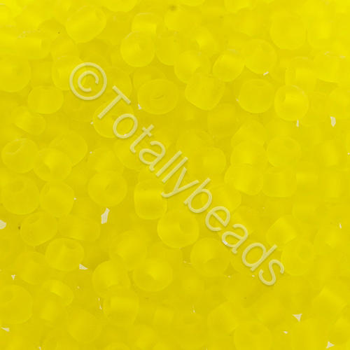 Seed Beads Transparent Frosted  Yellow - Size 6