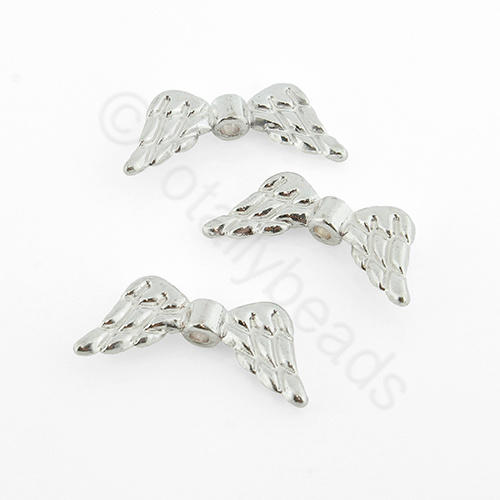 Silver Metal Bead - Angel Wing 20x9mm 15pcs - A0904-S