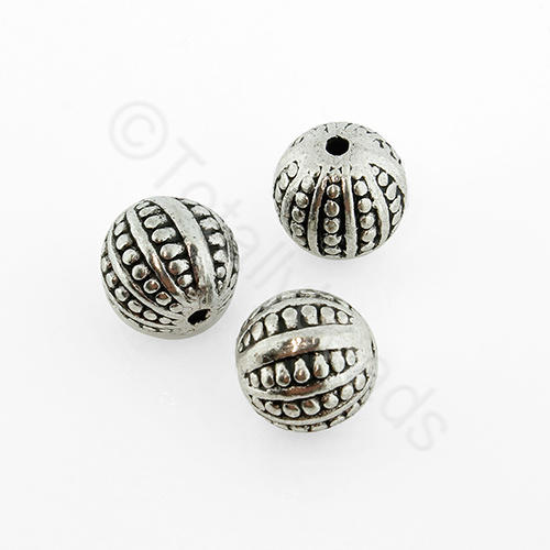 Antique Silver Metal Bead - Spotted Round 10mm 6pcs - A8753