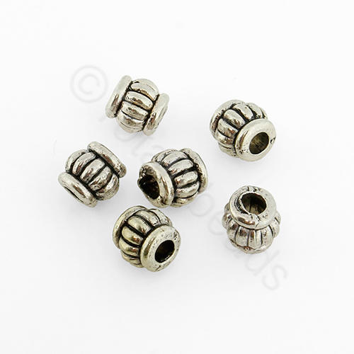 Tibetan Silver Bead - Barrel 5mm