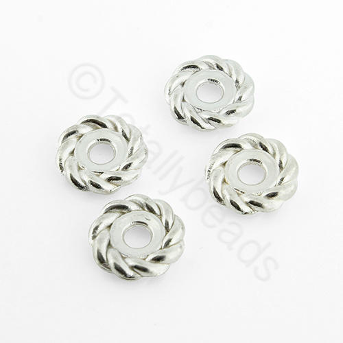 Tibetan Silver Bead - Roped Bead 10mm - Silver