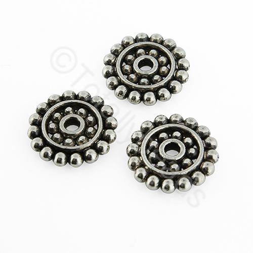 Antique Silver Spacer Disc - 13mm - Spotted