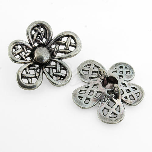Antique Silver Metal Connector - Flower 31mm 3pcs