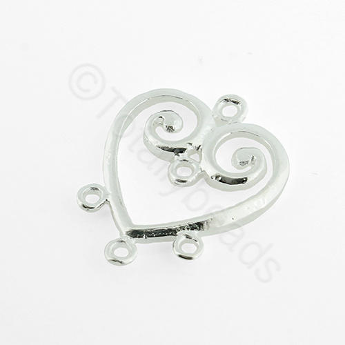 Silver Metal Heart Connector 3 loops 19mm - 2pcs
