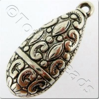 Acrylic Antique Silver Charm - Drop 34mm