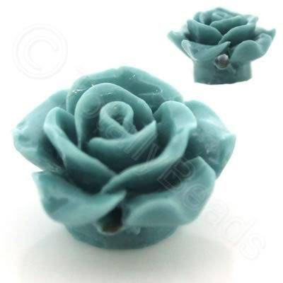 Acrylic Rose 15mm 1 Row - Aqua 4 pcs