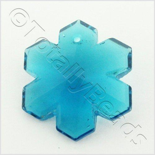 Glass Pendant Snowflake 29mm - Teal