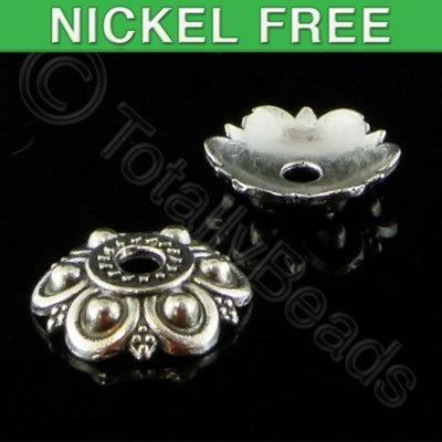 Antique Silver Bead Cap - 12mm - 6 Petal