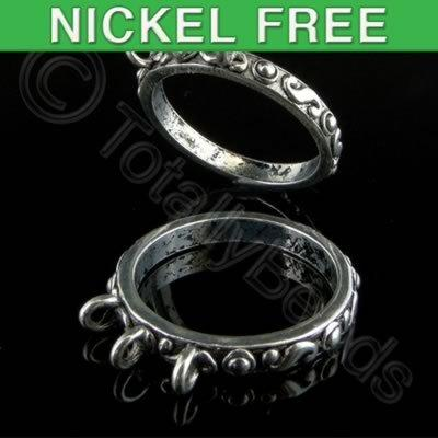 Antique Silver Metal Ring Base S Design 3 Loops 20mm  3pcs