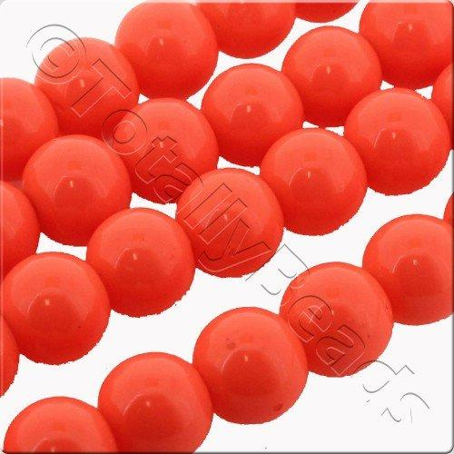 Glass Bead Round 8mm - Neon Orange