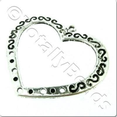 Tibetan Silver 5-1 Connector - Heart