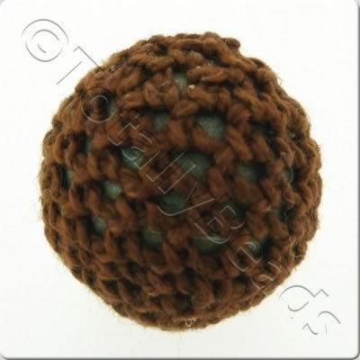 Crochet Bead 22mm - Brown