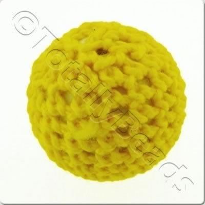 Crochet Bead 22mm - Yellow