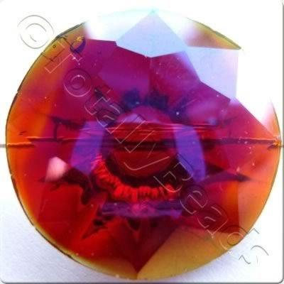 Crystal Button - Round 25mm - Red Rainbow