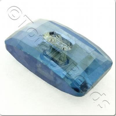 Crystal Button - Rectangle 30mm - Electric Blue