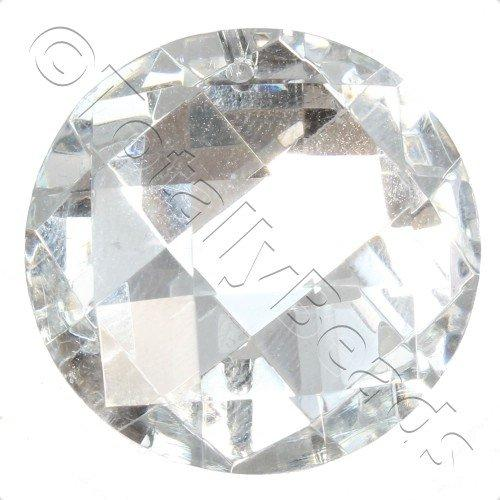Crystal Pendant - Disc 30mm - Square Cut Silver B
