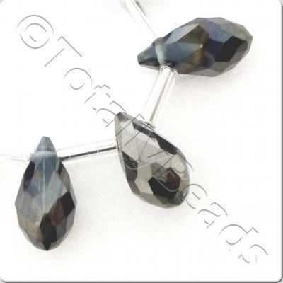 Crystal Drop Top Drilled 6x12mm - Black Diamond Shadow