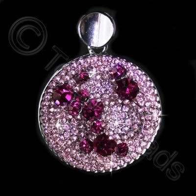 Diamante Pendant - Round Bubbles - Fuschia + Light Rose