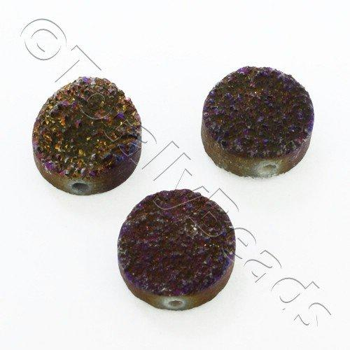 Druzy Bead Disc 12mm - Purple Iris Plate