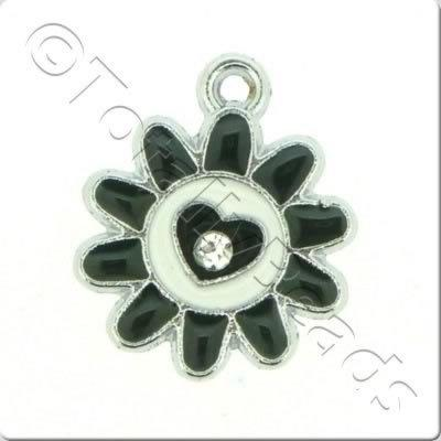 Enamel Charm - Sunflower - Black