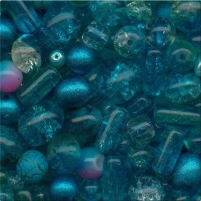 Mixed Glass Beads - Turquoise - Tube