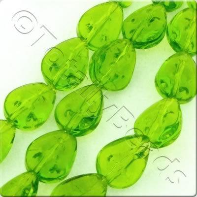 Glass Spotty Drop - 12x9mm - Green - 28pcs