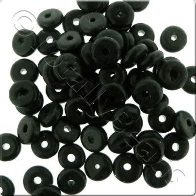 Glass Rondelle - Black 8mm
