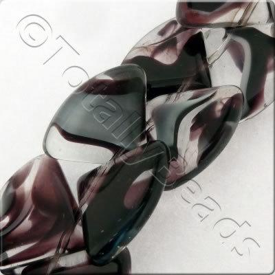 Glass Quadrant - 15mm - Dark Amethyst - 28pcs