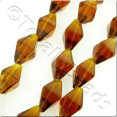 Glass Bipyramid - 15x8mm - Brown - 20pcs_(1)