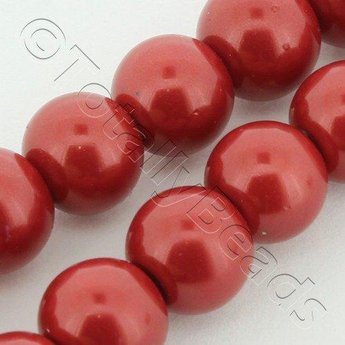 Glass Pearl Round 8mm Wine Red Grade B