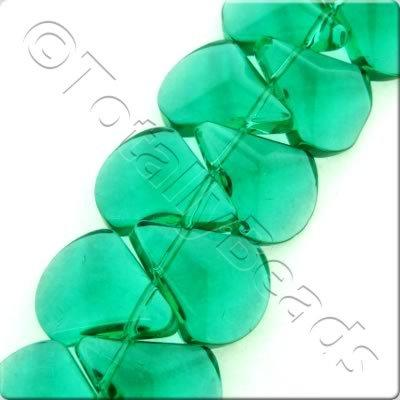 Glass Axe Drop - 17x14mm - Teal - 47pcs