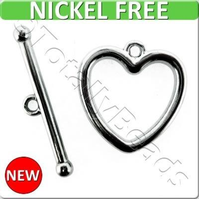 Black Metal Toggle - Heart 20mm 4 sets - A15256-B