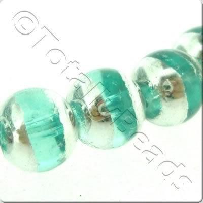 Half Silver Round Glass Bead - Turquoise