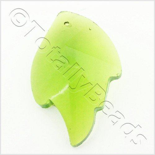 Glass Pendant Facet Leaf 31mm - Green