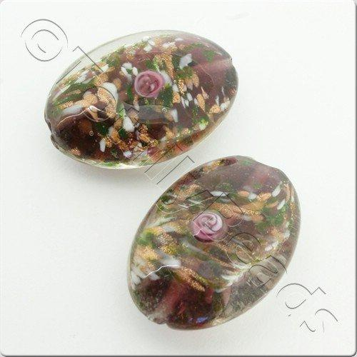Lampwork Glass Bead Oval 32mm - Purple with Flower