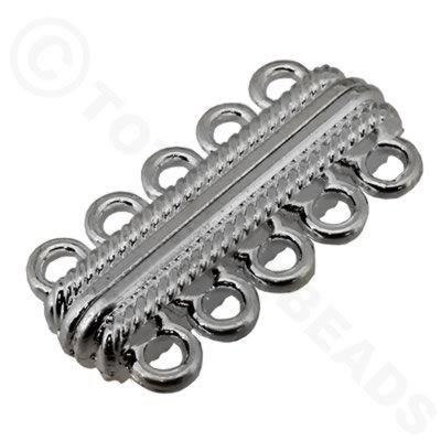 Magnetic Clasp 5 Loop Bar 32mm Silver