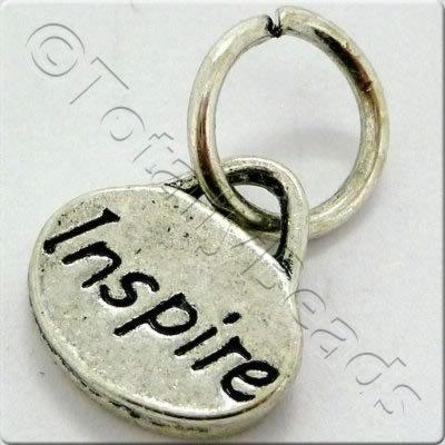 Tibetan Silver Message Tag/Charm - Inspire