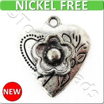 Antique Silver Metal Charm - Flower Heart 20x22mm 8pcs - K1274