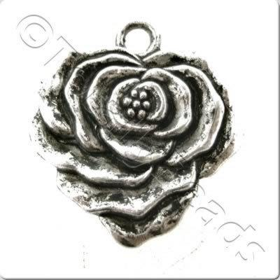 Tibetan Silver Heart Shaped Flower Charm