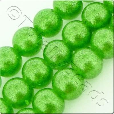 Metallic Crackle Glass Bead - Green