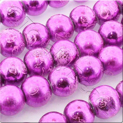 Metallic Splatter 8mm Round Beads - Fuschia